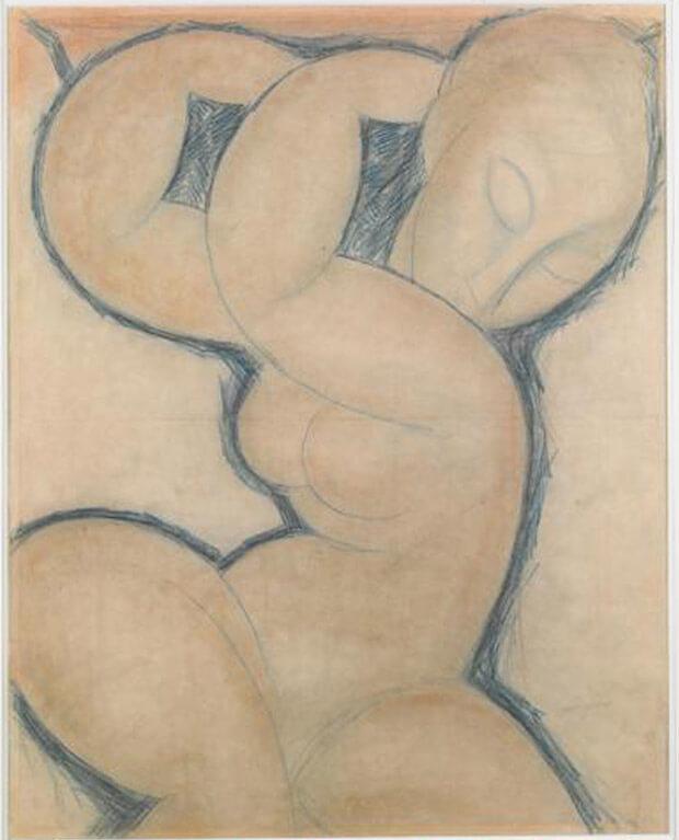Amedeo Modigliani. Cariatide (blu). 1913 circa. Matita blu su carta