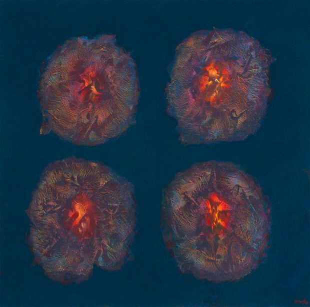 Franco Mulas. Big-Bang, olio su tavola, 2013