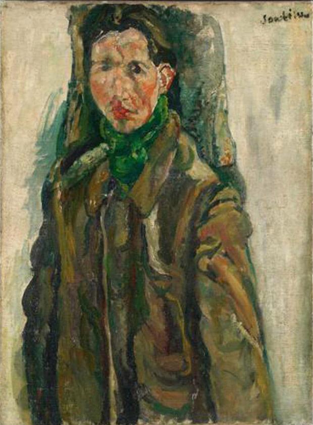Chaïm Soutine - Autoritratto con tenda. 1917 circa. Olio su tela