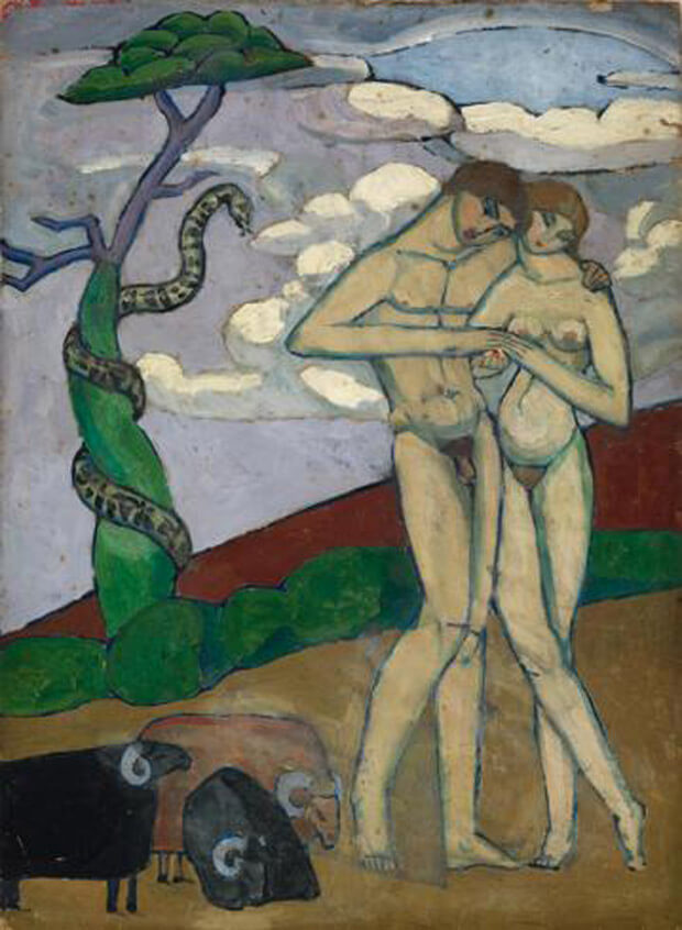 Jeanne Hébuterne - Adamo ed Eva. 1919. Olio su cartone