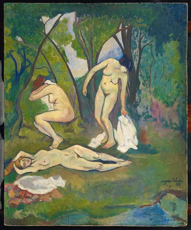 Suzanne Valadon - Tre nudi in campagna. 1909. Olio su cartone