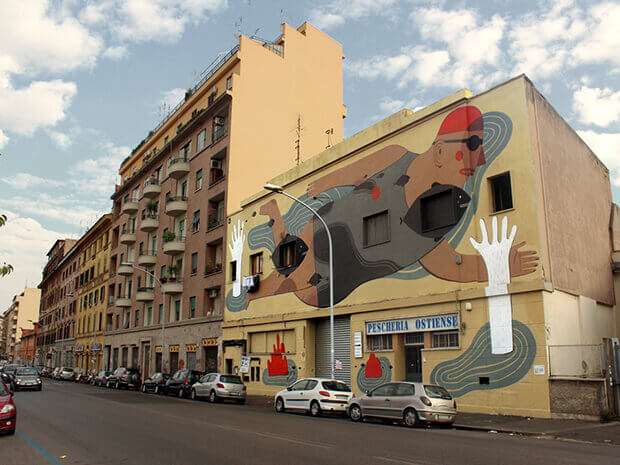 Street art murales a Ostiense