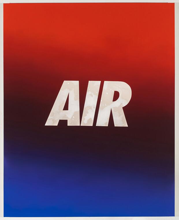 Andrew Brischler. AIR (rosso / blu), Olio su tela su tavola - 2013