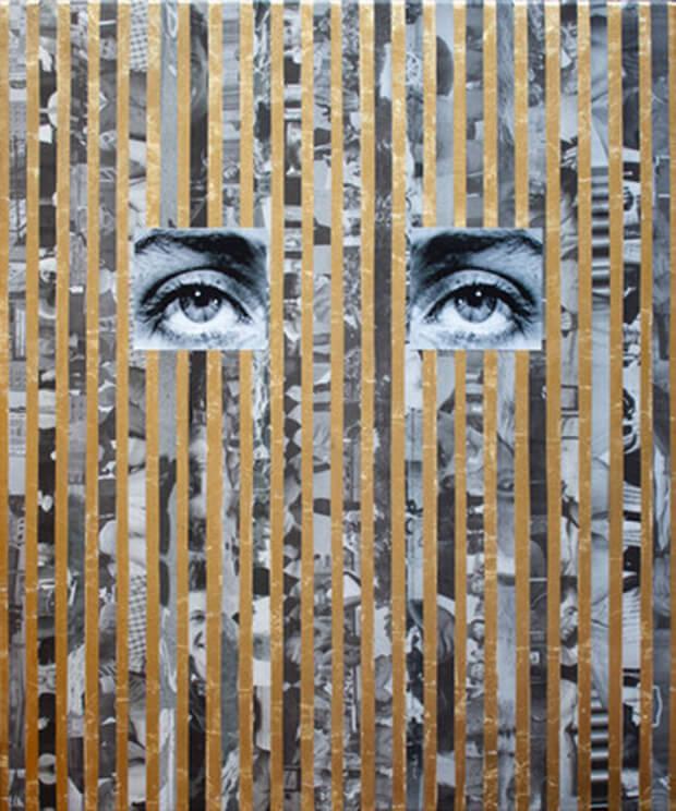 Anna Ostoya. Stampa a getto d'inchiostro pigmentato, foglia d'oro, e giornali su tela. 2013.