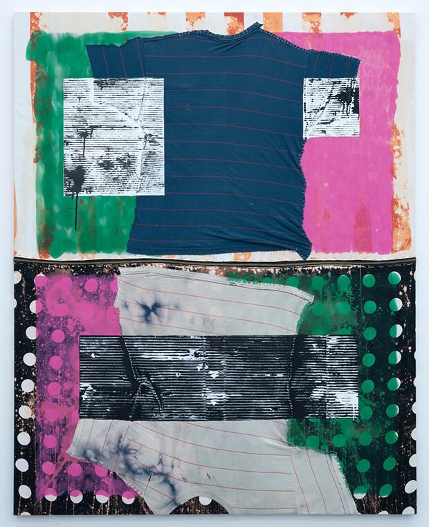 Benjamin Corni. Auto-riflessiva, latex, smalti, candeggina, t-shirt, zip e filo su cotone - 2013