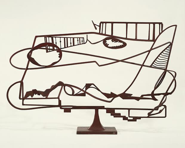 David Smith. Fiume Hudson,Paesaggio, 1951. Acciaio saldato dipinto e acciaio inossidabile, 126,8x187,3x42,cm