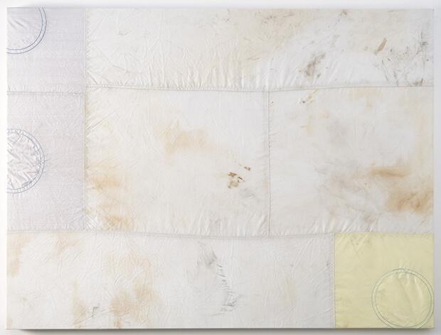 Ross Iannatti. Isteresi n. 64 in silicone rivestito in tessuto di nylon, sodio azide e residui di legno - 2013