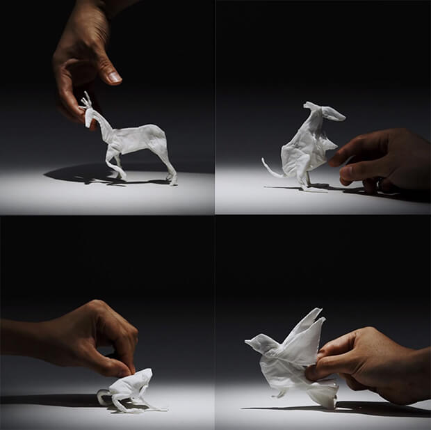 Yuki Ariga - folded tissue paper animals, animali in carta di fazzoletti - stop motion