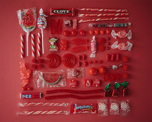 Color Coded Candy by Emily Blincoe - red, rosso