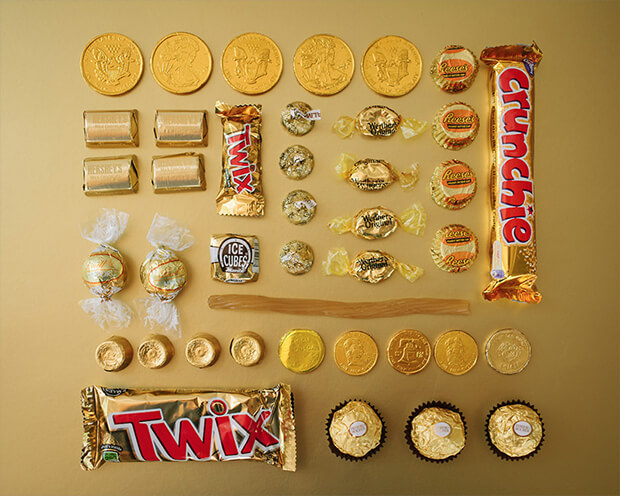 Color Coded Candy by Emily Blincoe - gold, oro
