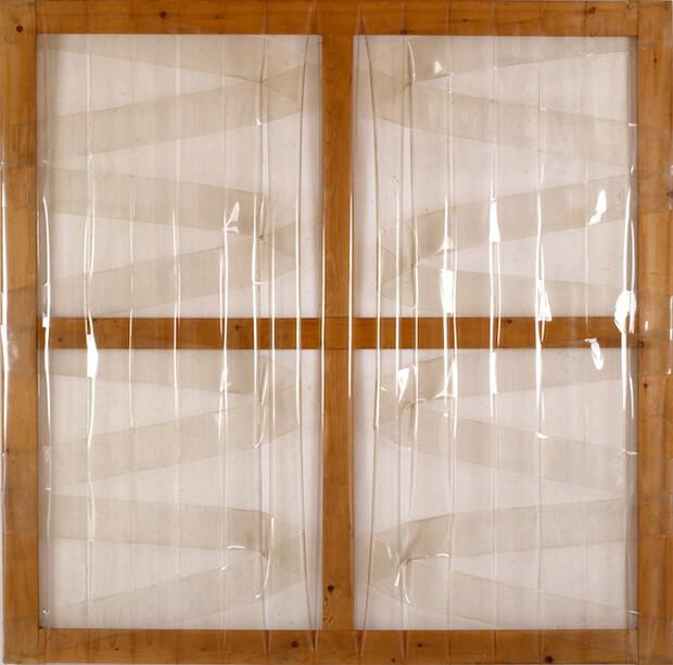 Carla Accardi. Grande trasparente, 1975, sicofoil su telaio di legno, cm 170 x 170