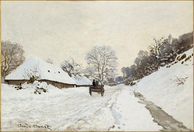 Claude Monet.  Il calesse. Strada di Honfleur sotto la neve con la fattoria Saint Siméon, 1867 circa