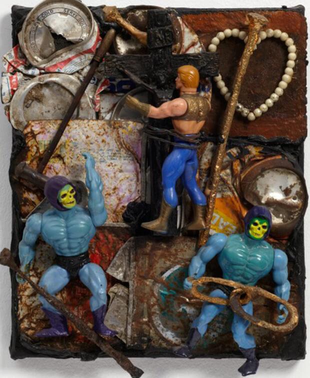 Derek Jarman. I.N.R.I., 1988, Olio e tecnica mista, 31,7X27x8 cm.