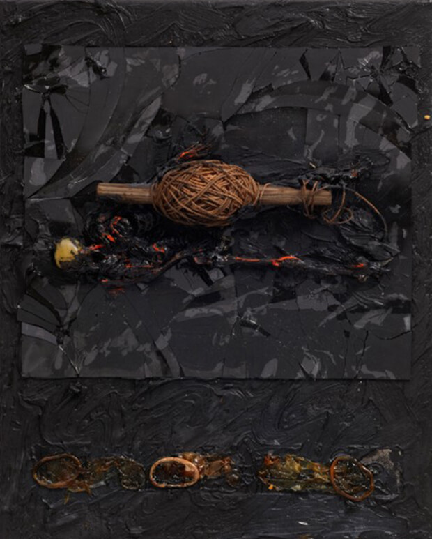 Derek Jarman. Occhi, 1986, Olio e tecnica mista, 36,3x26,7 cm.
