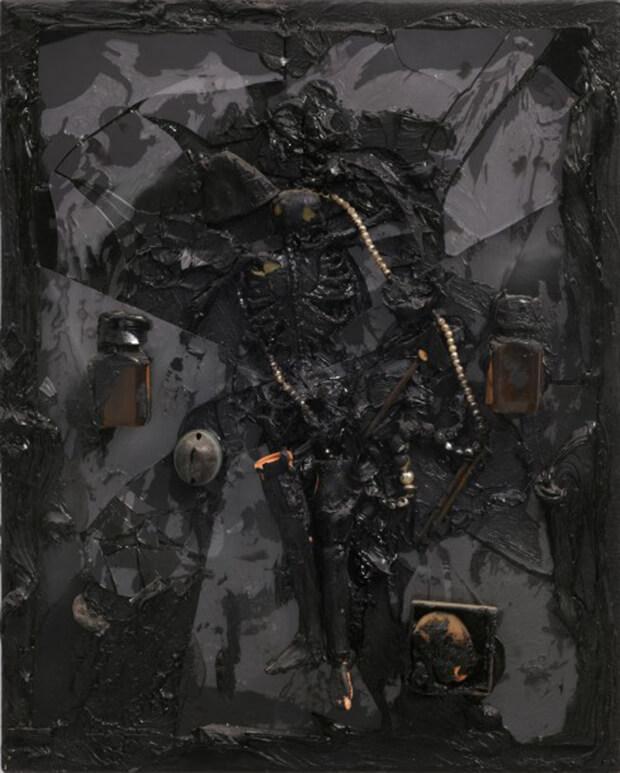 Derek Jarman. Senza titolo, Gambe, 1987, Olio e tecnica mista, 51,2x41 cm.