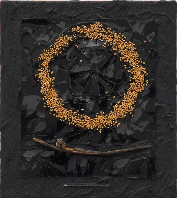 Derek Jarman. Senza titolo, seme di baccello, 1991, Olio e tecnica mista, 46x21,5 cm.