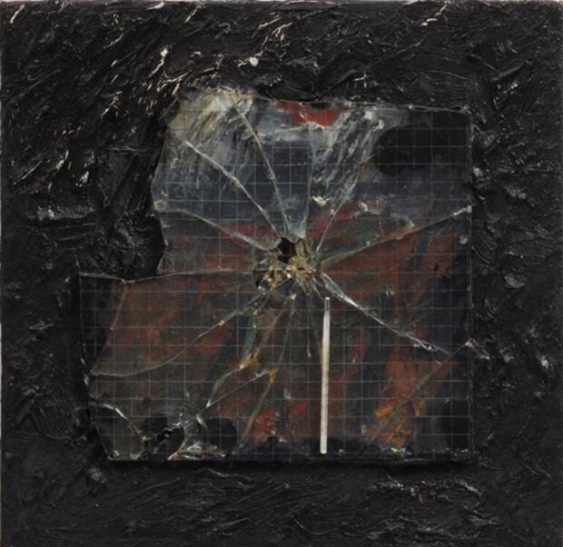 Derek Jarman. Senza titolo, vetro retinato 1990, Olio e tecnica mista 40,8x41 cm.