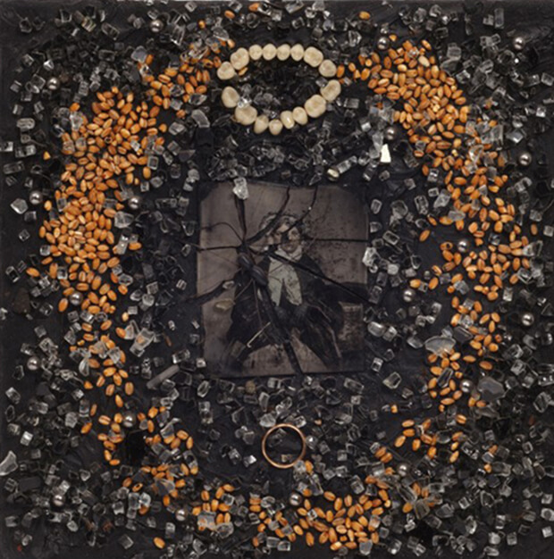 Derek Jarman.. Vedova nera, 1987, Olio e tecnica mista, 25,7x25,7 cm.