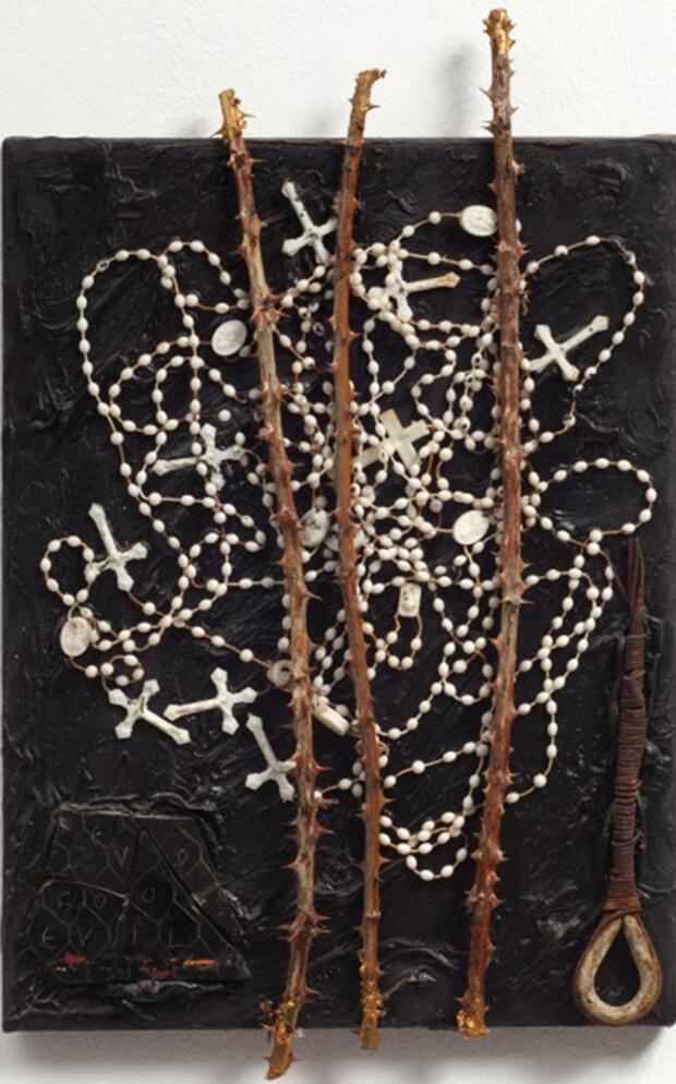 Derek Jerman. Prospettiva, 1990, Olio e tecnica mista, 48,4x30,8 cm.