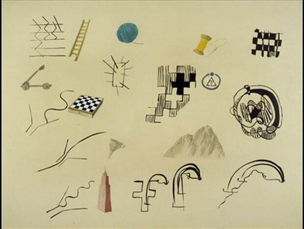 Francesco Clemente. Pitture barbare, 1976, gouache e inchiostro su carta, 113x150 cm.