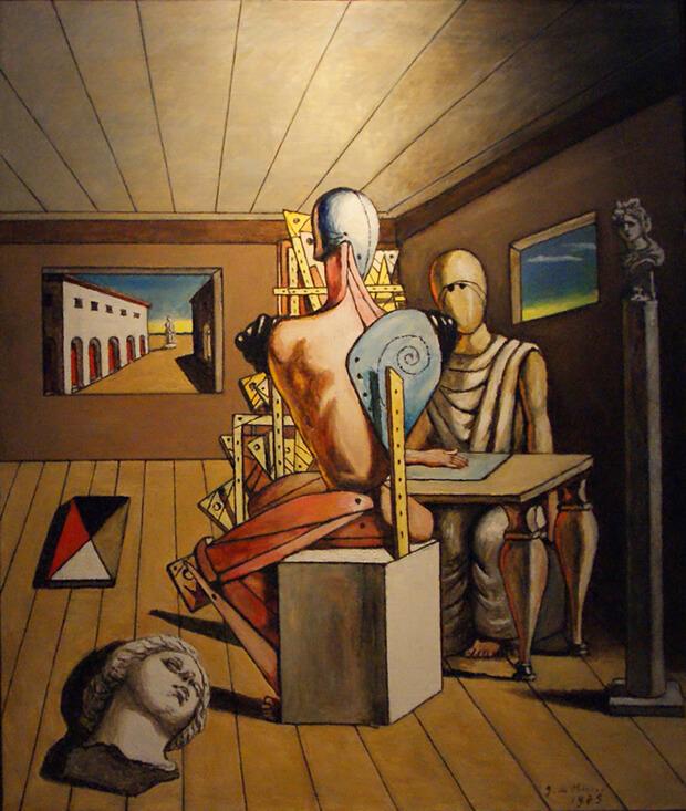 Giorgio de Chirico. Il poeta e il pittore, 1975, olio su tela, cm. 100 x 81,5
