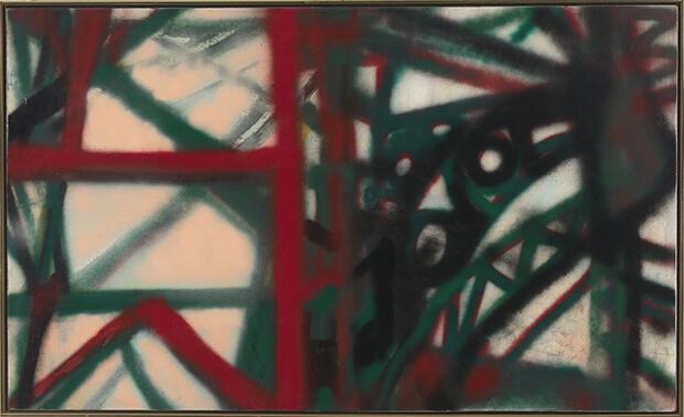 Hedda Sterne. New York, N.Y., 1955. Aerografo e smalto su tela, 92,1x153 cm.
