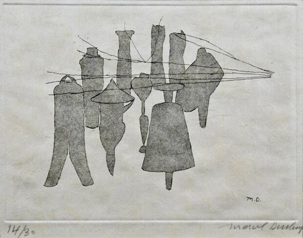 Marcel Duchamp. Il grande vetro,  1965, acquaforte su carta giapponese,  50 x 33 cm.