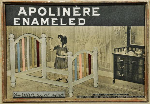 Marcel Duchamp. Latta serigrafata punzonata su carta stampata applicata su cartone, cm 24,4 x 33,9
