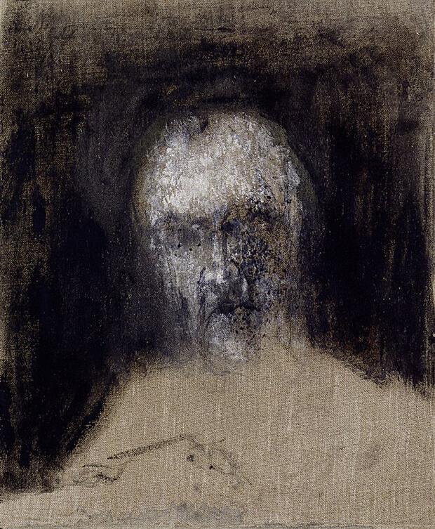 Zoran Music Autoritratto, 1988, olio su tela, 46x38x6 cm.