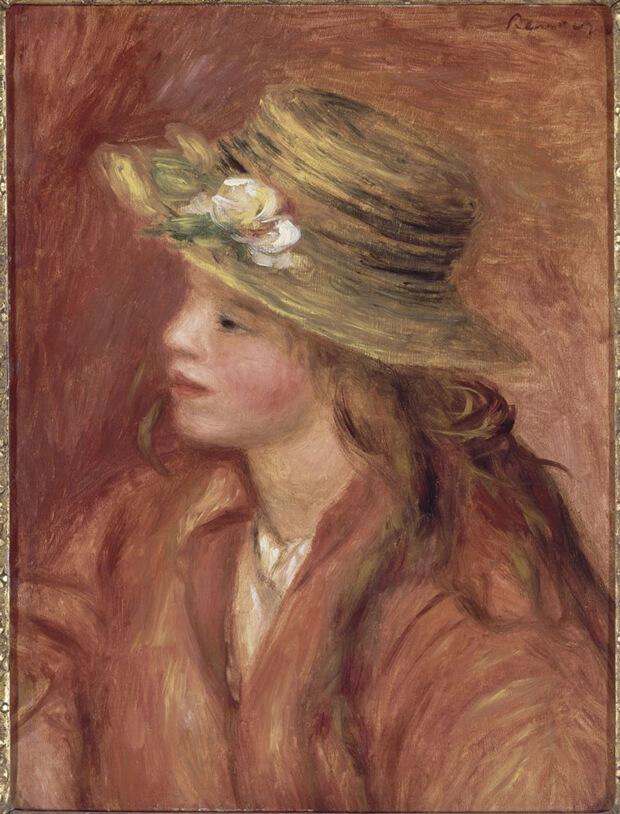 Pierre Auguste Renoir. Ragazza con il cappello di paglia, 1908 circa