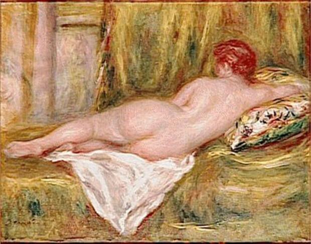 Pierre Auguste Renoir.  Nudo disteso visto di schiena, 1909