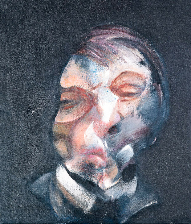 Francis Bacon. Autoritratto, 1971, Olio su tela, 35.5 x 30.5 cm.