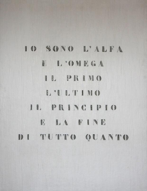 Vincenzo Agnetti. Ritratto di Dio, 1970, feltro inciso e dipinto, cm. 120 x 80 x 2,5
