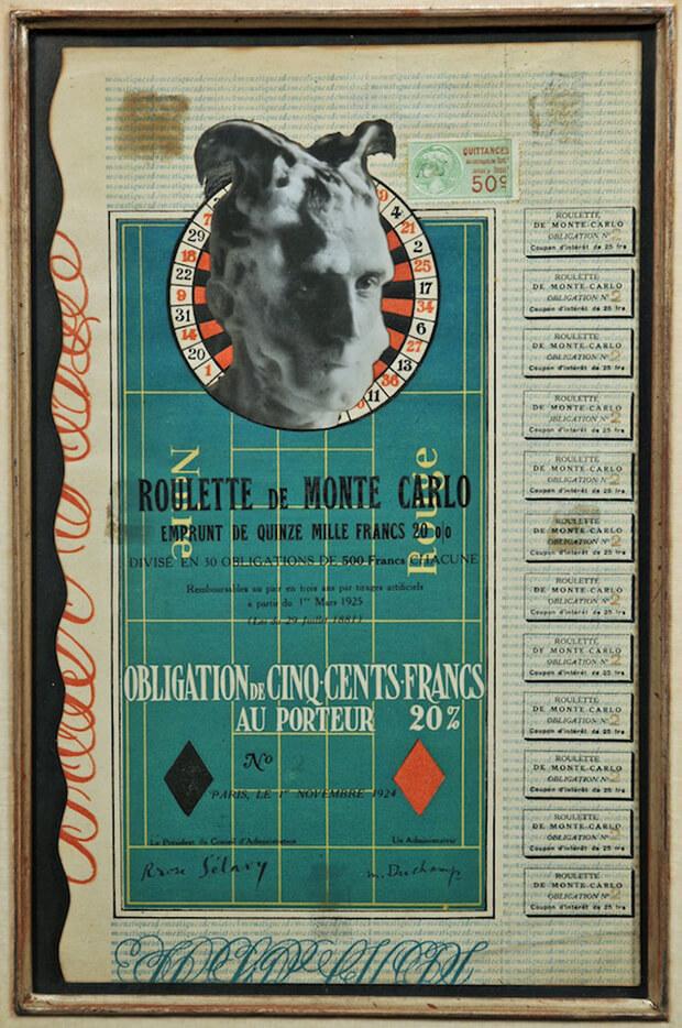 Marcel Duchamp. Obbligazione per la roulette di Monte Carlo, 1924, ready-made imitato e rettificato, collage di stampa fotografica ai sali d'argento - foto Man Ray-  su litografia a colori e rilievografia su sostegno di cartone, 31,5 x 19,5 cm.