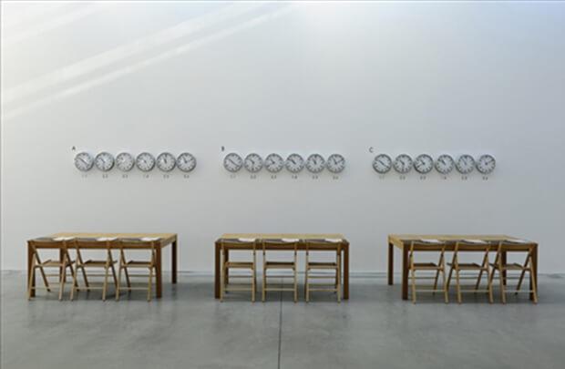 oseph Kosuth. The Eighth Investigation, Proposition, 1971. notebooks, tavoli, sedie, orologi, testo in vinile, misure variabili