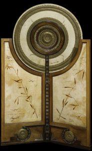 Carlo Bugatti e Giovanni Segantini. Paravento, 1902-05, legno, metallo, avorio, rame sbalzato, olio su pergamena