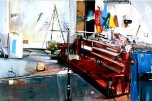 Stanza di guerra con banco rosso, olio, smalto e tecnica mista su tela, 2008, cm. 274x183