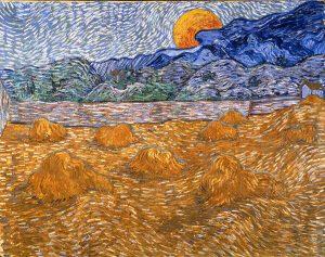 Van Gogh. Paesaggio con covoni e luna nascente, 1889, olio su tela, cm. 72 x 91,3. Otterlo, Kröller-Müller Museum