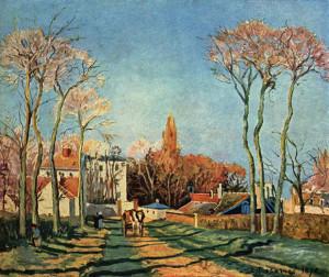 Entrata del villaggio di  Voisins, 1872, olio su tela, cm. 46x55