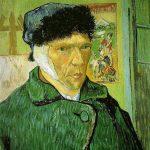 Vincent van Gogh. Autoritratto con orecchio bendato, cavalletto e stampe giapponesi, 1889. Olio su tela, cm. 60 × 49. Courtauld Institute Galleries, Londra