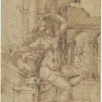 Baccio Bandinelli - Studio per Leda e il cigno. Disegno, penna e inchiostro marrone, cm. 28,3x19,2