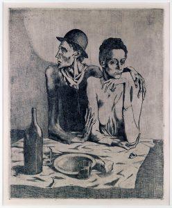 Il pasto frugale ,acquaforte, 1904, cm. 46,3 x 37,7