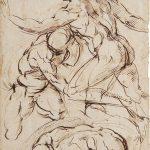 Baccio Bandinelli - Nudi in combattimento, matita nera, cm. 40,3 x 26,7