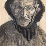 Vincent van Gogh. Testa di pescatore con cappello di tela cerata, 1883,