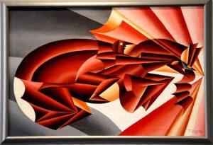 Fortunato Depero. Nitrito in velocità, 1932 ca., olio su tela. Collezioni civiche. Dono Alberto Della Ragione
