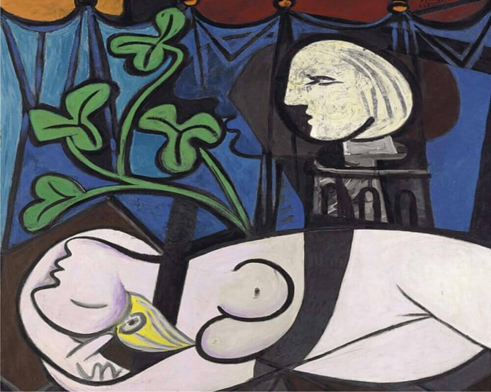 Pablo Picasso Nudo foglie verdi e busto 1932