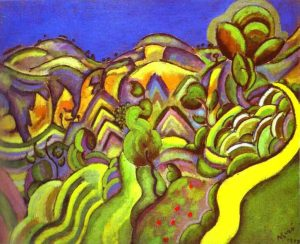Juan Mirò. Siurana, Il sentiero, 1917, olio su tela, cm. 60,6 x 73,3. Collezione del Museo Reina Sofía, Madrid