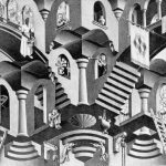 Cornelis Escher. Concavo e convesso, litografia,1955