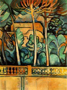 Georges Braque. Terrazza all'hotel Mistral. 1907, olio  su tela, cm. 80 x 61