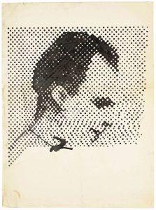 Sigmar Polke. Ritratto di Lee Oswald 1963, raster drawing. Images courtesy of the Estate of Sigmar Polke /DACS, London/VG Bild-Kunst, Bonn